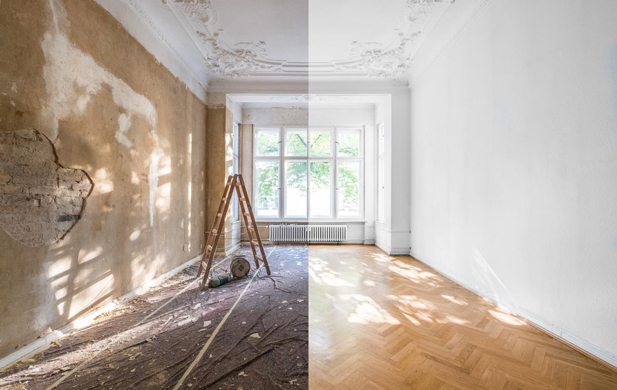 Raum vor und nach Renovierung